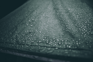 canvas tent with raindrops