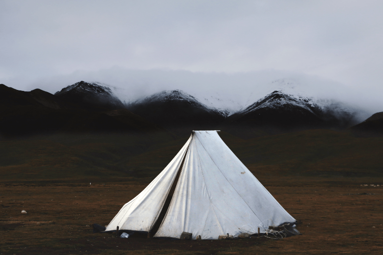 tent in the mountain valley
